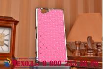 Фирменная роскошная задняя-панель-накладка декорированная кристалликами на Sony Xperia Z1 Compact D5503 розовая
