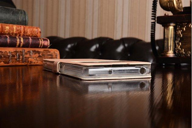 Фирменный чехол-книжка для Sony Xperia Z2 (D6503) золотой с окошком для входящих вызовов водоотталкивающий