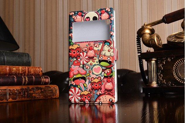 Фирменный чехол-книжка с безумно красивым расписным кислотным-мульти-рисунком на Sony Xperia Z2 (D6503) с окошком для звонков
