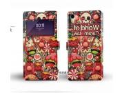 Фирменный чехол-книжка с безумно красивым расписным кислотным-мульти-рисунком на Sony Xperia Z2 (D6503) с окош..