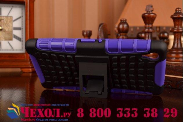 Противоударный усиленный ударопрочный фирменный чехол-бампер-пенал для Sony Xperia Z2 фиолетовый