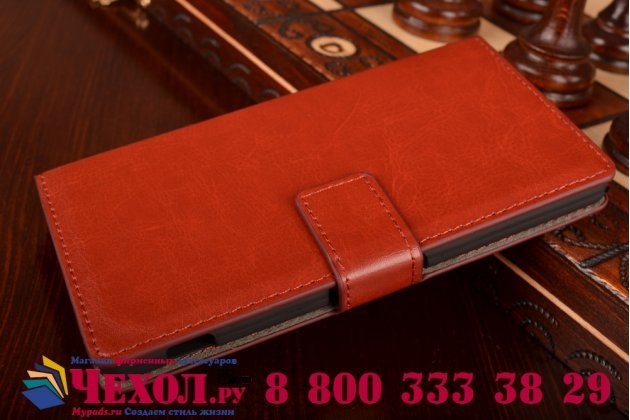 Фирменный чехол-книжка из качественной импортной кожи с подставкой и визитницей для Sony Xperia Z2 (D6503) коричневый