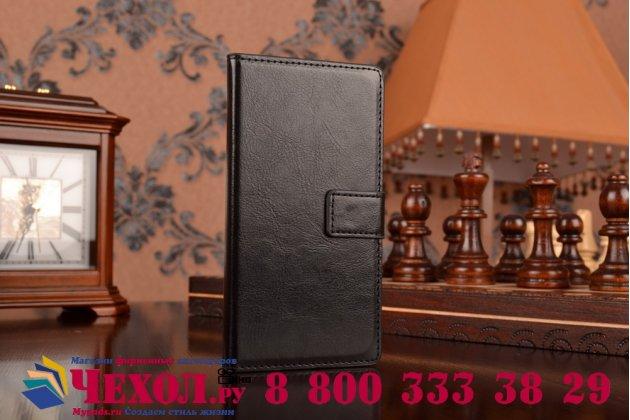 Фирменный чехол-книжка из качественной импортной кожи с подставкой застёжкой и визитницей для Сони Иксперия Зет 2 Д6503 черный
