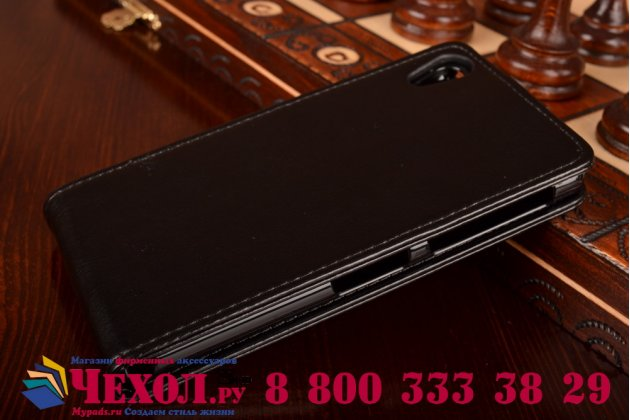 Фирменный оригинальный вертикальный откидной чехол-флип для Sony Xperia Z2 (D6503) черный кожаный