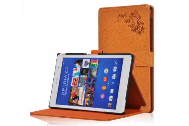 Фирменный чехол закрытого типа с красивым узором для планшета Sony Xperia Z3 Tablet Compact (SPG611/SGP621RU) оранжевый натуральная кожа Италия