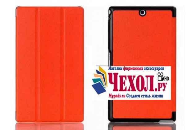 """Фирменный умный чехол-книжка самый тонкий в мире для Sony Xperia Z3 Tablet Compact (SPG611/SGP621RU) """"Il Sottile"""" оранжевый пластиковый"""