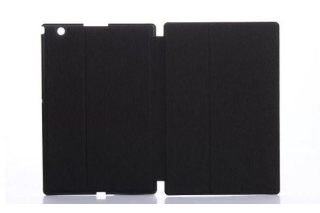"""Фирменный чехол для планшета Sony Xperia Z4 Tablet SGP712/SGP771 10.1"""" с мульти-подставкой  черный кожаный """"Deluxe"""" Италия"""