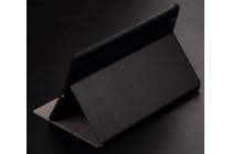 """Фирменный чехол для планшета Sony Xperia Z4 Tablet SGP712/SGP771 10.1"""" с мульти-подставкой и держателем для руки черный кожаный """"Deluxe"""" Италия"""