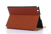 """Фирменный премиальный чехол бизнес класса для Sony Xperia Z4 Tablet SGP712/SGP771 10.1"""" с визитницей из качественной импортной кожи """" Ретро"""" коричневый"""