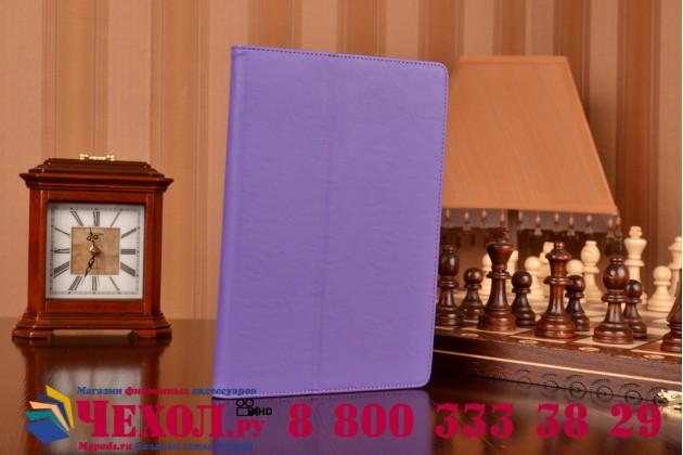 """Фирменный чехол бизнес класса для Sony Xperia Z4 Tablet SGP712/SGP771 10.1"""" с визитницей и держателем для руки фиолетовый натуральная кожа """"Prestige"""" Италия"""