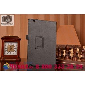"""Фирменный чехол бизнес класса для Sony Xperia Z4 Tablet SGP712/SGP771 10.1"""" с визитницей и держателем для руки черный натуральная кожа """"Prestige"""" Италия"""