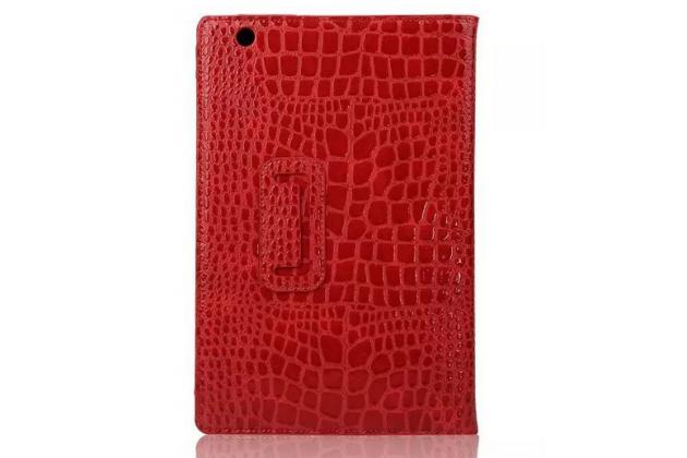 """Фирменный чехол для Sony Xperia Z4 Tablet SGP712/SGP771 10.1"""" лаковая кожа крокодила красный"""