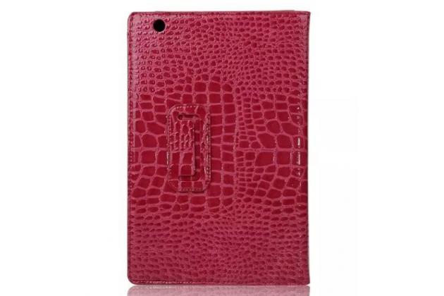 """Фирменный чехол для Sony Xperia Z4 Tablet SGP712/SGP771 10.1"""" лаковая кожа крокодила малиновый"""