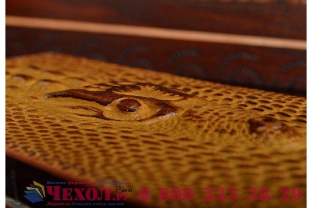 Фирменный роскошный эксклюзивный чехол с объёмным 3D изображением кожи крокодила коричневый для Sony Xperia Z4 Compact D6803 . Только в нашем магазине. Количество ограничено
