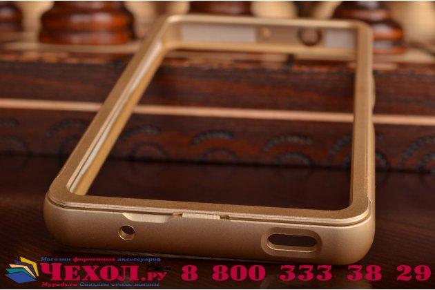 Фирменный оригинальный ультра-тонкий чехол-бампер для Sony Xperia Z4 Compact золотой металлический
