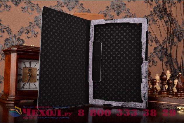 "Чехол-футляр для Sony Xperia Z4 Tablet SGP712/SGP771 10.1"" ""тематика карта мира"" кожаный серый"