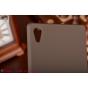 Фирменная задняя панель-крышка-накладка из тончайшего и прочного пластика для Sony Xperia Z4 /Z3+ коричневая..
