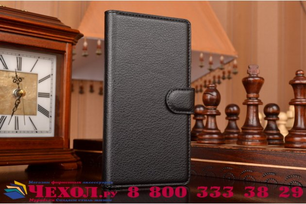 """Фирменный чехол-книжка из качественной импортной кожи с мульти-подставкой застёжкой и визитницей для Сони Экспериа Зет 5  / Зет 5  Дуал E6603/E6633 5.2"""" черный"""