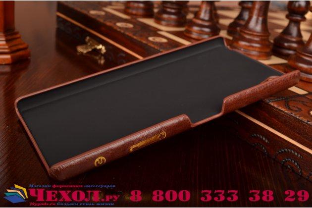 """Фирменная роскошная элитная премиальная задняя панель-крышка для Sony Xperia Z5 Premium / Z5 Premium Dual E6853 / E6883/ Z5+ 5.5"""" из качественной кожи буйвола с визитницей коричневый"""