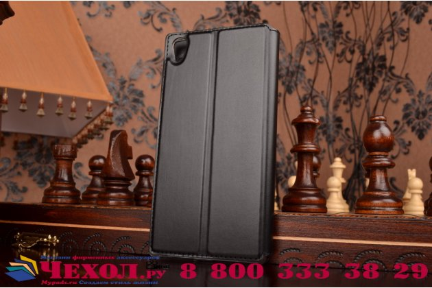 """Фирменный чехол-книжка для Sony Xperia Z5 Premium / Z5 Premium Dual E6853 / E6883 5.5""""  черный с окошком для входящих вызовов из импортной кожи"""
