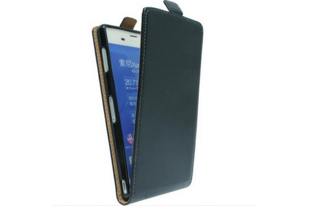 """Фирменный оригинальный вертикальный откидной чехол-флип для  Sony Xperia Z5 Premium / Z5 Premium Dual E6853 / E6883/ Z5+ 5.5"""" черный из натуральной кожи """"Prestige"""" Италия"""