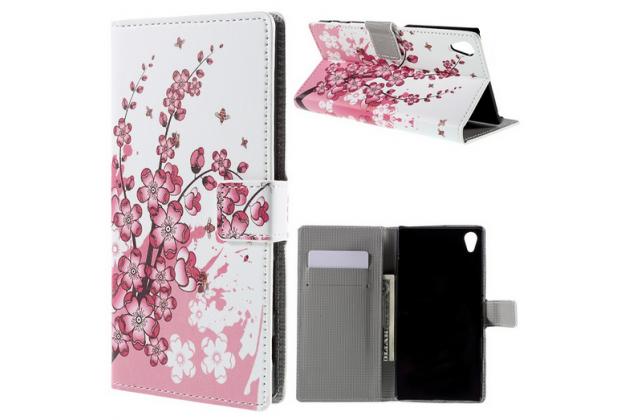 """Фирменный уникальный необычный чехол-книжка для Sony Xperia Z5 Premium / Z5 Premium Dual E6853 / E6883/ Z5+ 5.5"""" """"тематика цветок Сакуры"""""""