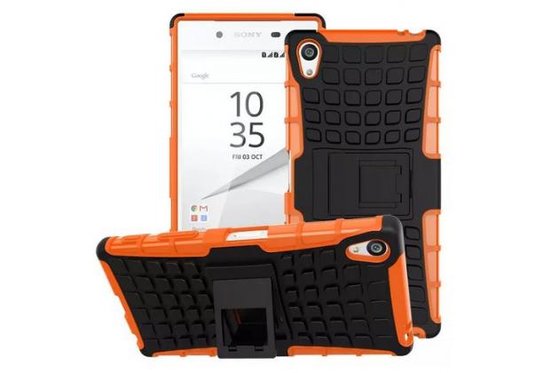 """Противоударный усиленный ударопрочный фирменный чехол-бампер-пенал для Sony Xperia Z5 Premium / Z5 Premium Dual E6853 / E6883/ Z5+ 5.5"""" оранжевый"""