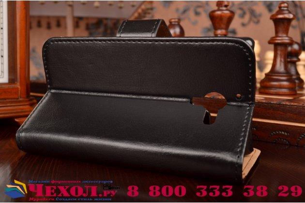 Фирменный чехол-книжка из качественной импортной кожи с подставкой застёжкой и визитницей для Сони Иксперия Зет Эль С6502 черный