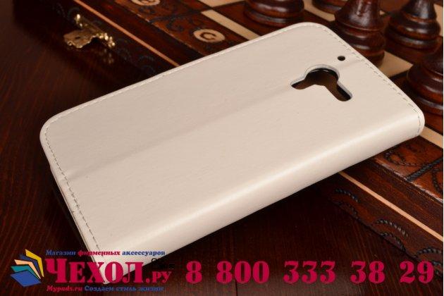 Фирменный чехол-книжка из качественной импортной кожи с подставкой застёжкой и визитницей для Sony Xperia ZL (C6502) белый