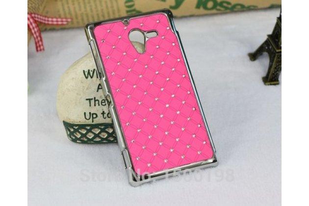 Фирменная роскошная задняя-панель-накладка декорированная кристалликами на Sony Xperia ZL (C6502) розовая