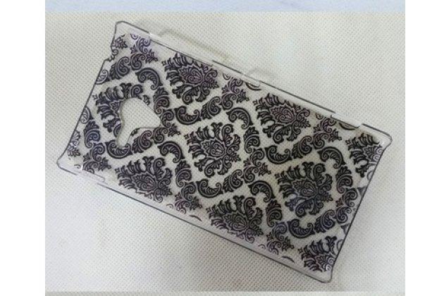Фирменная роскошная задняя панель-чехол-накладка с расписным узором для Sony Xperia ZL C6502 прозрачная черная