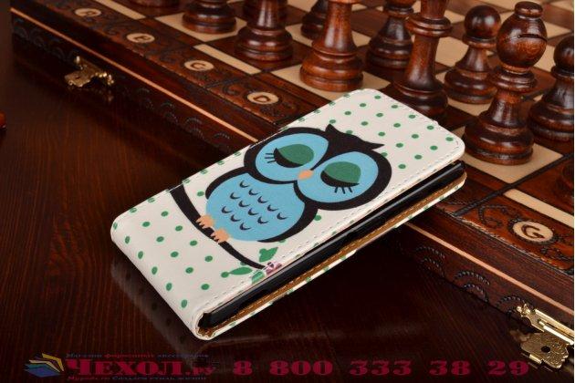 """Фирменный вертикальный откидной чехол-флип для Sony Xperia ZL (C6502)  """"тематика Сова"""""""