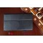 """Фирменный чехол бизнес класса для Sony Xperia Z3 Tablet Compact с визитницей и держателем для руки черный натуральная кожа """"Prestige"""" Италия"""