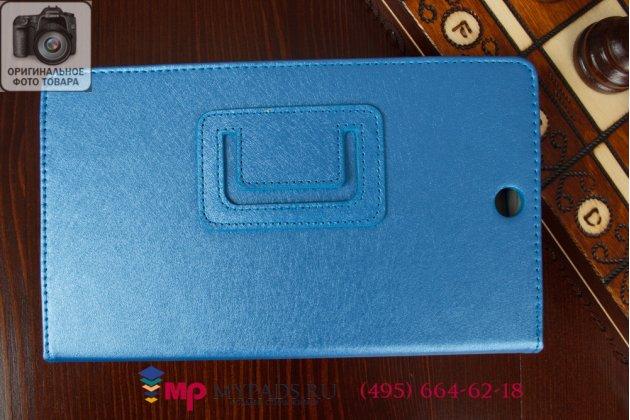 Фирменный оригинальный чехол обложка для Sony Xperia Z3 Tablet Compact (SPG611/SGP621RU) голубой кожаный