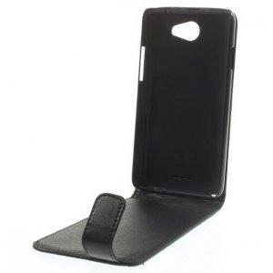 Фирменный вертикальный откидной чехол-флип для Sony Xperia A2 (Z2 compact) черный кожаный