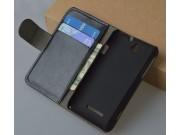 Фирменный чехол-книжка из качественной импортной кожи с подставкой застёжкой и визитницей для Sony Xperia E Du..