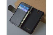 Фирменный чехол-книжка из качественной импортной кожи с подставкой застёжкой и визитницей для Sony Xperia E Dual C1605 черный
