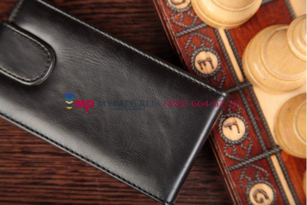 Фирменный вертикальный откидной чехол-флип для Sony Xperia E Dual C1605 черный кожаный