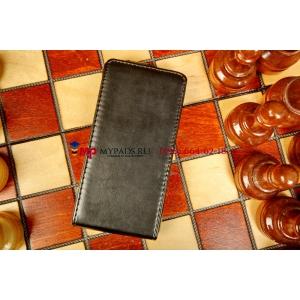 Фирменный вертикальный откидной чехол-флип для Sony Xperia M/Xperia M Dual черный кожаный