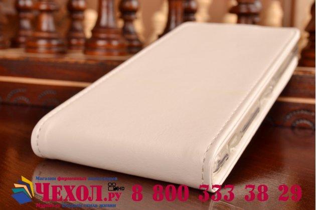 """Фирменный оригинальный вертикальный откидной чехол-флип для Sony Xperia M4 Aqua/Aqua Dual белый из качественной импортной кожи """"Prestige"""" Италия"""
