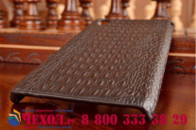 Элитная задняя панель-крышка премиум-класса из тончайшего и прочного пластика обтянутого кожей крокодила для Sony Xperia M4 Aqua/Aqua Dual брутальный черный