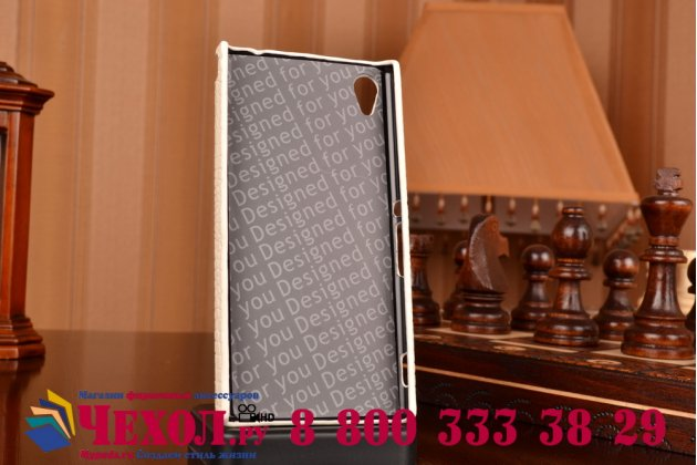 Элитная задняя панель-крышка премиум-класса из тончайшего и прочного пластика обтянутого кожей крокодила для Sony Xperia M4 Aqua/Aqua Dual молочно-белая