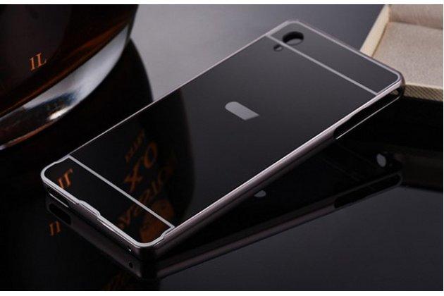 Фирменная металлическая задняя панель-крышка-накладка из тончайшего облегченного авиационного алюминия для Sony Xperia M4 Aqua/Aqua Dual черная