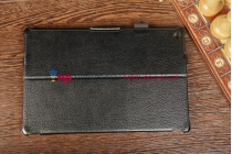 """Фирменный чехол для Sony Xperia Tablet Z с мульти-подставкой и держателем для руки черный кожаный """"Deluxe"""" Италия"""