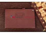 Чехол-обложка для Sony Xperia Tablet Z с визитницей и держателем для руки коричневый кожаный
