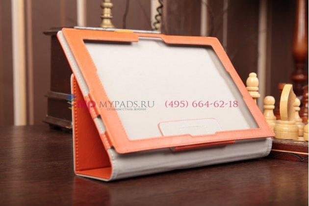 """Уникальный эксклюзивный чехол-обложка для Sony Xperia Tablet Z с визитницей и держателем для руки оранжевый натуральная кожа """"Prestige"""" Италия"""