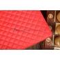 Сгёганая кожа в ромбик с узором чехол-обложка для Sony Xperia Tablet Z красный кожаный..