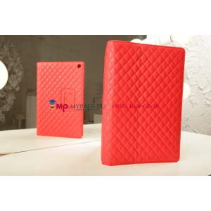 Сгёганая кожа в ромбик с узором чехол-обложка для Sony Xperia Tablet Z красный кожаный