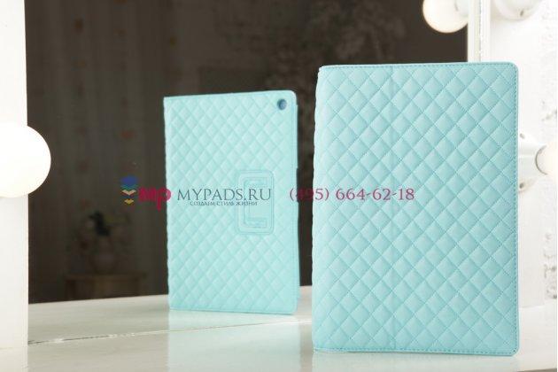 Сгёганая кожа в ромбик с узором чехол-обложка для Sony Xperia Tablet Z2 цвет морской волны кожаный