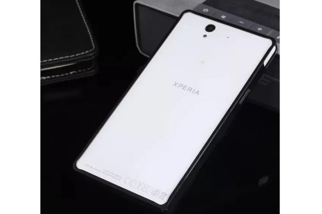 Фирменный оригинальный ультра-тонкий чехол-бампер для Sony Xperia Z C6602/C6603 (L36h) черный металлический